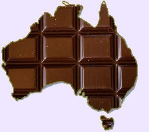 Map of Australia made of chocolate
