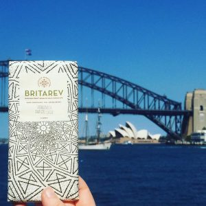 Britarev bean to bar chocolate with Sydney Harbour Bridge and Opera House